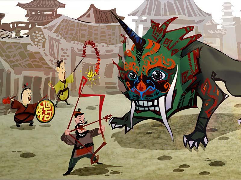 Китайское новгоднее чудовище по имени Нянь («Год»)