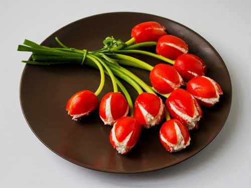 Закуска помидор тюльпан